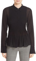 Theory Dionelle Pintuck Pleat Textured Chiffon Blouse