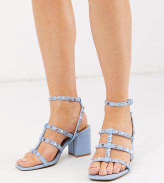 Asos Design DESIGN Wide Fit Haiti studded blocked heeled sandals in cornflower blue