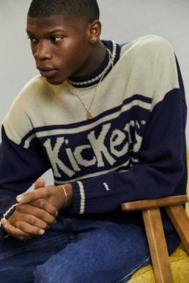 Kickers Navy Logo Knit Jumper - Blue S at Urban Outfitters