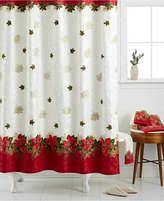 Lenox Closeout! Holiday Poinsettia Tartan Shower Curtain Bedding