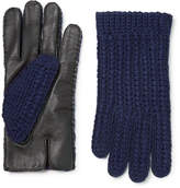 Oliver Spencer + Monocle Wool-blend And Leather Gloves - Navy