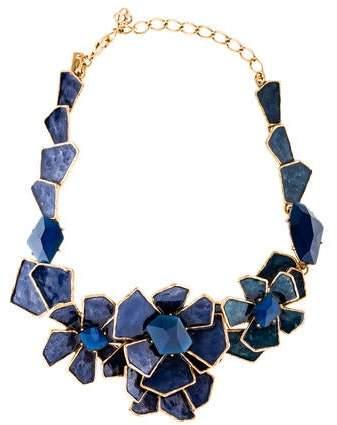 Oscar de la Renta Geometric Floral Bib Necklace