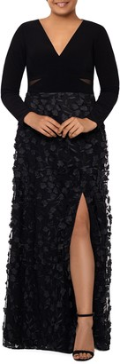 Xscape Evenings 3D Floral & Mesh Cutout Long Sleeve Gown