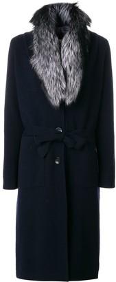 N.Peal Fur Collar Knitted Coat