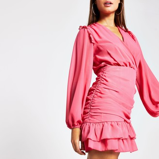 River Island Womens Pink long sleeve frill ruched mini tea dress