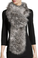 Neiman Marcus Long Straight Faux-Fur Scarf, Silver Fox-Color