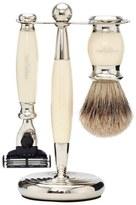 Truefitt & Hill Edwardian Badger MachIII Razor, Brush and Stand Set Faux Ivory