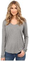 Heather Long Sleeve Rib Shirt Tail Tee