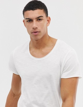 Jack and Jones Essentials scoop neck longline t-shirt in white