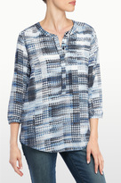 NYDJ Lady Luck Houndstooth Print 3/4 Sleeve Blouse In Petite
