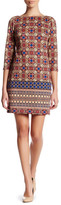 London Times Medallion 3/4 Length Sleeve Shift Dress (Petite)