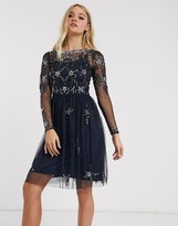 Frock and Frill long sleeve embellished skater dress