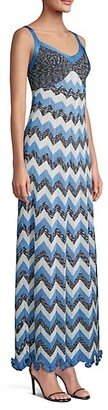 M Missoni Metallic Chevron Maxi Dress