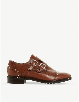 Dune Gryffin stud-detail leather double monk shoes