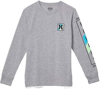Hurley Long Sleeve Graphic T-Shirt (Big Kids) (Dark Grey Heather) Boy's Clothing