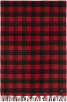 Saint Laurent Red and Black Plaid Scarf
