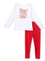 Beary Basics Red 'Jingle' Long-Sleeve Tee & Leggings - Toddler & Girls