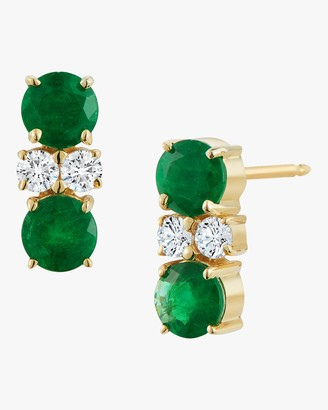 Jemma Wynne Prive Double Emerald And Diamond Stud Earrings