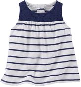 Osh Kosh Baby Girl Striped Eyelet-Yoke Tank Top
