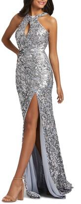 Mac Duggal Sequin Cowl Back Column Gown
