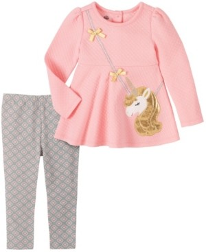 Kids Headquarters Baby Girls Quilted Unicorn with Purse Tunic Geo Print Legging Set