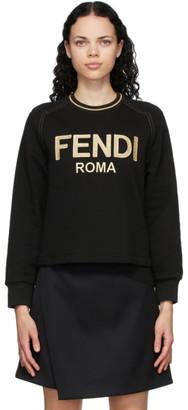Fendi Black Embroidered Logo Sweatshirt