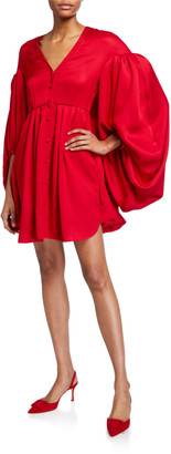 Hellessy Sonia Balloon-Sleeve Satin Dress