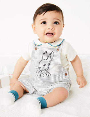 Marks and Spencer 3 Piece Pure Cotton Peter Rabbit Outfit (0-3 Yrs)