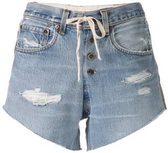Greg Lauren side stripe denim shorts