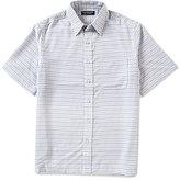 Roundtree & Yorke Short-Sleeve Polynosic Horizontal Stripe Point Collar Sportshirt