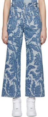 Junya Watanabe Indigo Backwards Jacquard Jeans