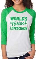 SignatureTshirts Women's Saint Patricks Day Irish Tallest Leprechaun 3/4 Tee (Green Print) S