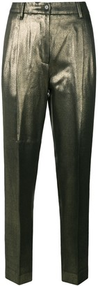 Moschino Pre Owned Tapered Cropped Metallic Trousers
