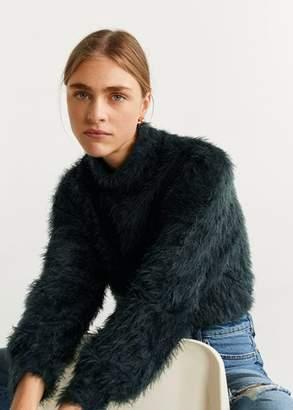 MANGO Faux-fur textured sweater green - XS - Women