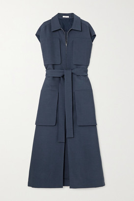 The Row Jaan Belted Wool-blend Dress - Blue