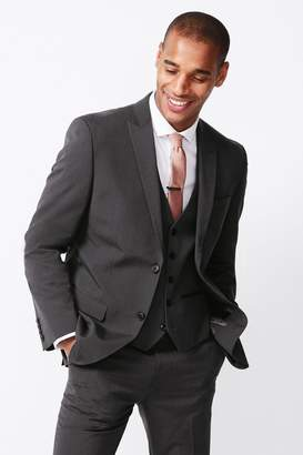 Next Mens Charcoal Slim Fit Three Button Suit: Jacket - Grey