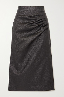Rebecca Vallance Brillare Gathered Metallic Crepe Midi Skirt - Black