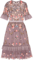 Needle & Thread Embellished Embroidered Tulle Dress - Lavender