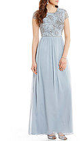 Adrianna Papell High Neck Cap Sleeve Beaded Bodice Mesh Long Gown