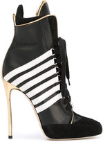 DSQUARED2 stripe panel heeled boots - women - Leather - 37
