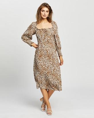 Faithfull The Brand Women's Brown Midi Dresses - Malini Midi Dress - Size XS at The Iconic