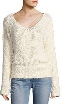 Elizabeth and James Wyatt Open V-Neck Pullover Sweater, Ivory