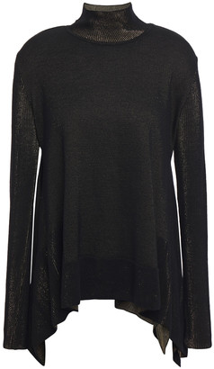 Roberto Cavalli Draped Metallic Wool-blend Jacquard Turtleneck Sweater
