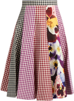 Christopher Kane Gingham and pansy-print A-line cotton skirt