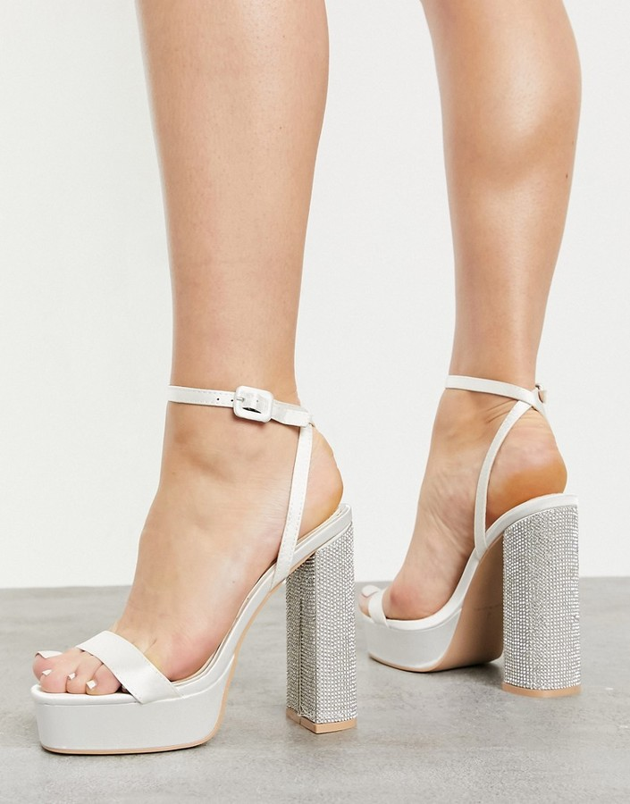 Be Mine Bridal platform sandals with embellished heel in over satin