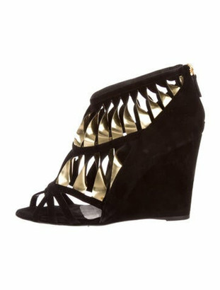 Chanel Suede Cutout Accent Gladiator Sandals Black