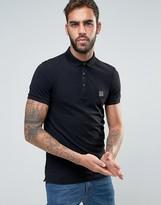 Boss Orange By Hugo Boss Slim Fit Polo Shirt In Black