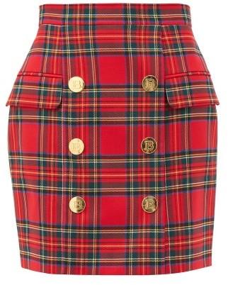 Balmain High-rise Wool-blend Tartan-twill Skirt - Red Multi