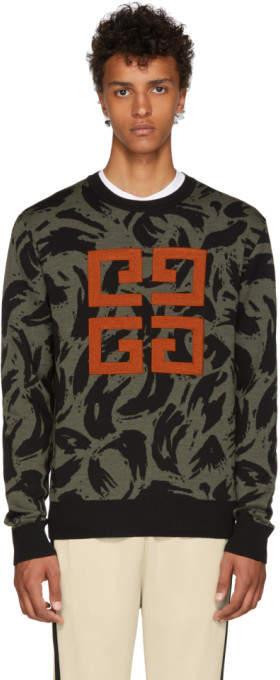 Givenchy Khaki and Black Jacquard Big 4G Sweater