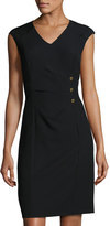 Ellen Tracy Center-Ruched Cap-Sleeve Dress, Black